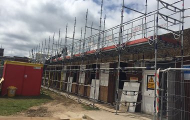 commercial scaffolding providing access for refurbishment on a hospital site